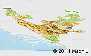 Physical Panoramic Map of Federacija Bosne i Hercegovine, single color outside