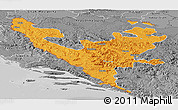Political Panoramic Map of Federacija Bosne i Hercegovine, desaturated