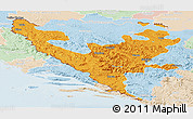 Political Panoramic Map of Federacija Bosne i Hercegovine, lighten