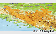 Political Panoramic Map of Federacija Bosne i Hercegovine, physical outside