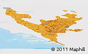 Political Panoramic Map of Federacija Bosne i Hercegovine, single color outside