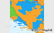 Political Simple Map of Federacija Bosne i Hercegovine
