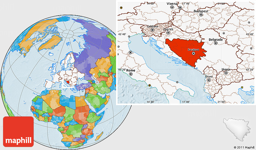 Political Location Map of Bosnia and Herzegovina ...