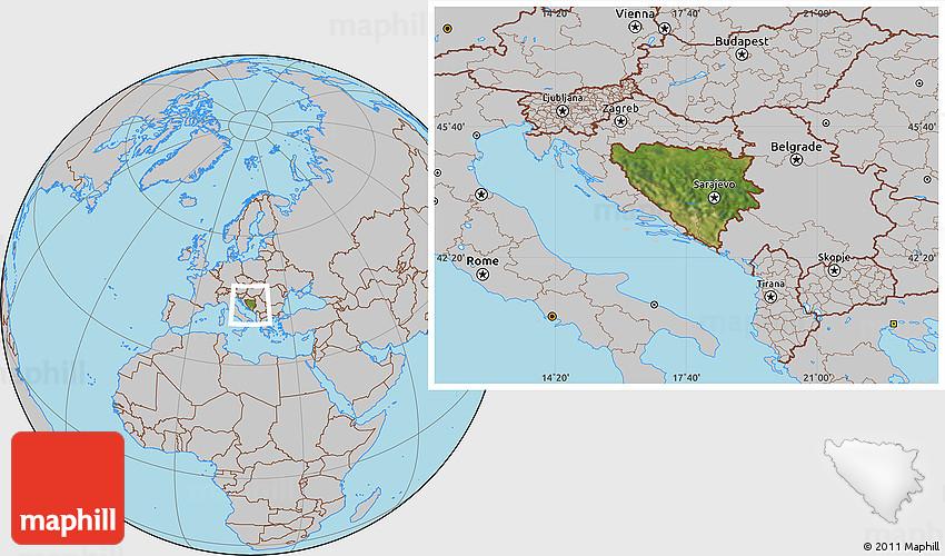 bosnia location on world map Satellite Location Map Of Bosnia And Herzegovina Gray Outside bosnia location on world map