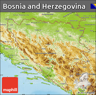 Physical Map of Bosnia and Herzegovina
