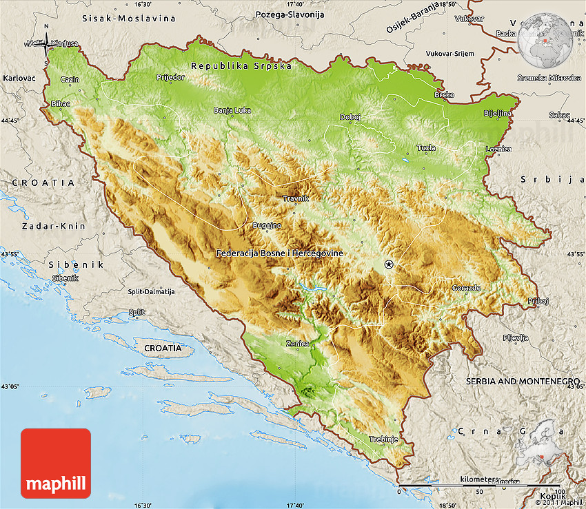 Physical Map Of Bosnia And Herzegovina Shaded Relief Outside - Bosnia and herzegovina map