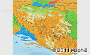 Physical 3D Map of Republika Srpska, political outside