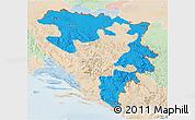 Political 3D Map of Republika Srpska, lighten