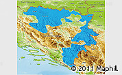 Political 3D Map of Republika Srpska, physical outside