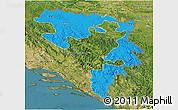 Political 3D Map of Republika Srpska, satellite outside