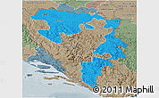 Political 3D Map of Republika Srpska, semi-desaturated