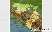 Physical Map of Republika Srpska, darken