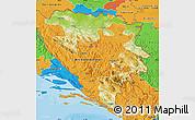 Physical Map of Republika Srpska, political outside