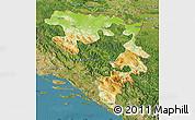 Physical Map of Republika Srpska, satellite outside