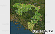 Satellite Map of Republika Srpska, darken