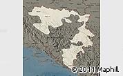 Shaded Relief Map of Republika Srpska, darken