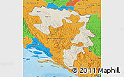 Shaded Relief Map of Republika Srpska, political outside