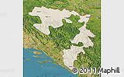 Shaded Relief Map of Republika Srpska, satellite outside