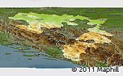 Physical Panoramic Map of Republika Srpska, darken