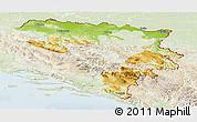 Physical Panoramic Map of Republika Srpska, lighten