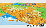 Physical Panoramic Map of Republika Srpska, political outside