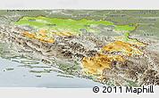 Physical Panoramic Map of Republika Srpska, semi-desaturated