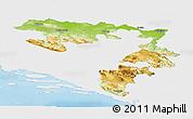 Physical Panoramic Map of Republika Srpska, single color outside