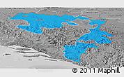 Political Panoramic Map of Republika Srpska, desaturated