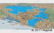 Political Panoramic Map of Republika Srpska, semi-desaturated