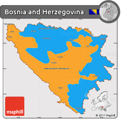 Free Political Simple Map of Bosnia and Herzegovina, cropped ...