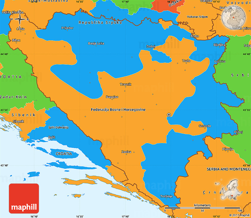 Political Simple Map of Bosnia and Herzegovina