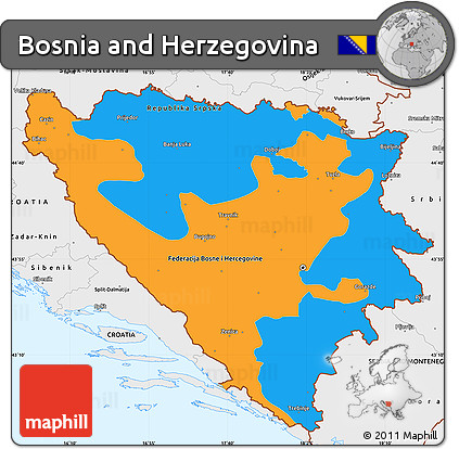 Free Political Simple Map of Bosnia and Herzegovina, single color ...