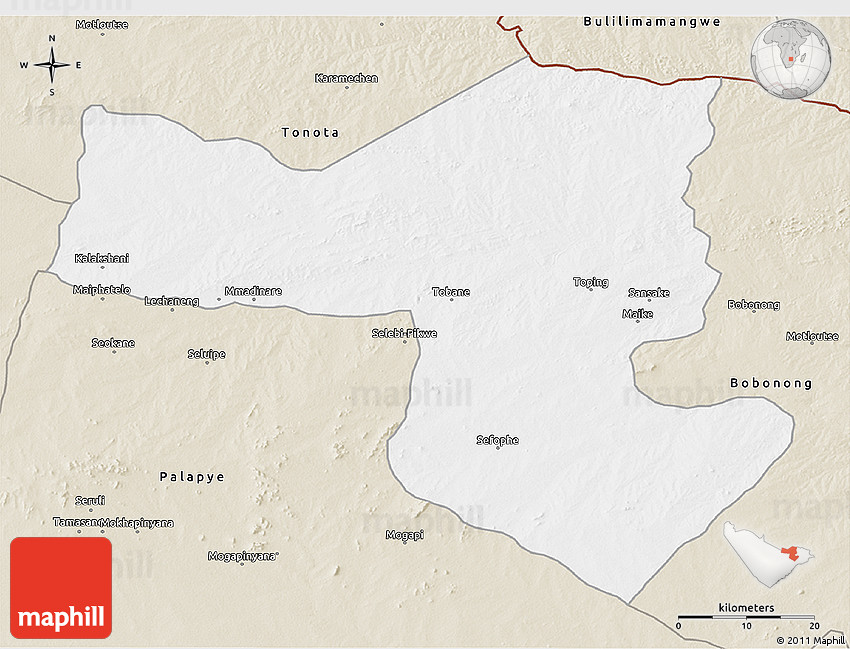 Classic Style 3D Map of SelebiPhikwe