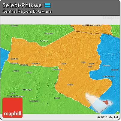 Free Political 3D Map of SelebiPhikwe