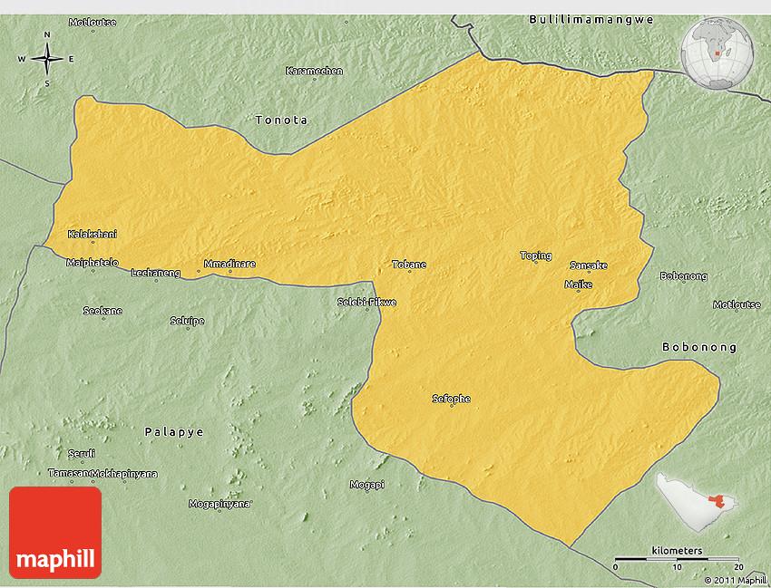 Savanna Style 3D Map of SelebiPhikwe