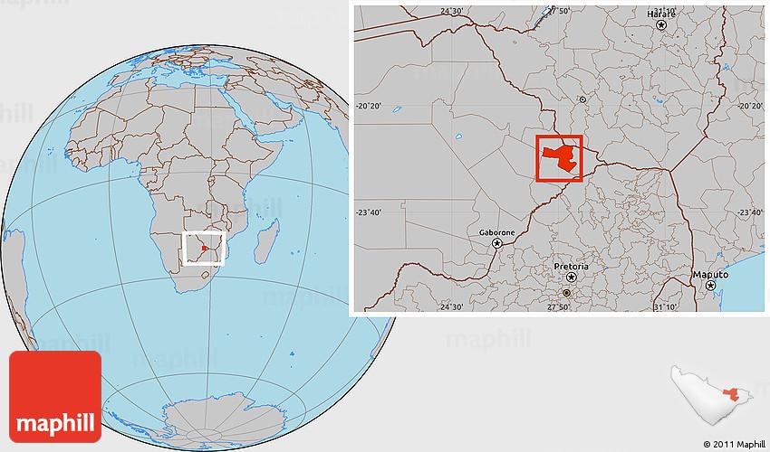 Gray Location Map of SelebiPhikwe