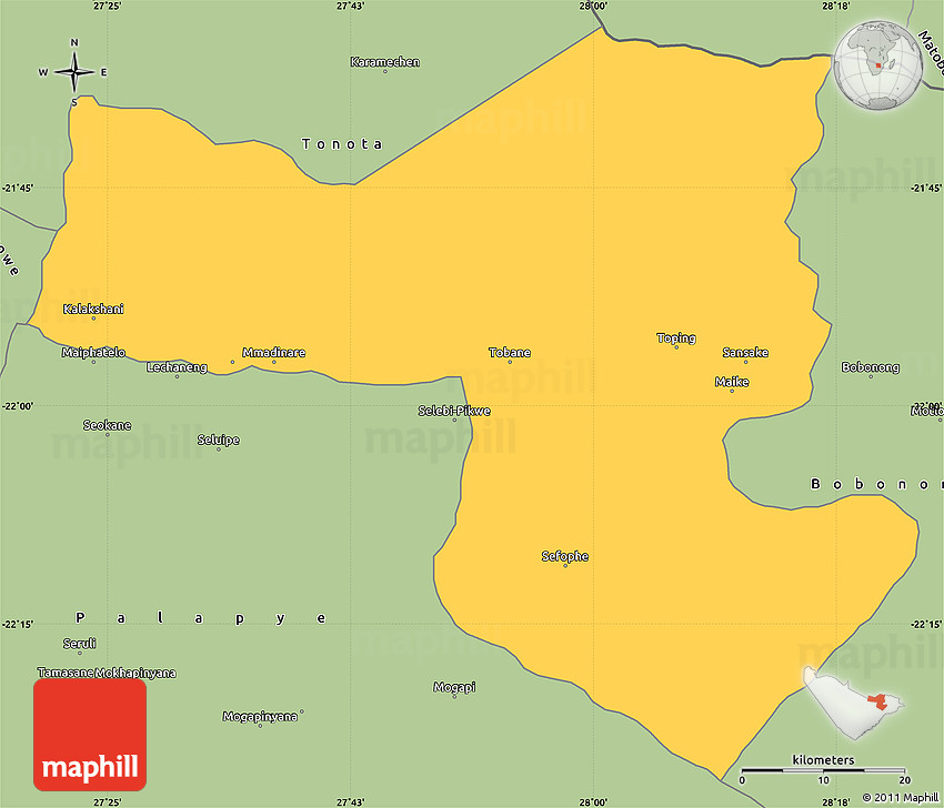 Savanna Style Simple Map of SelebiPhikwe