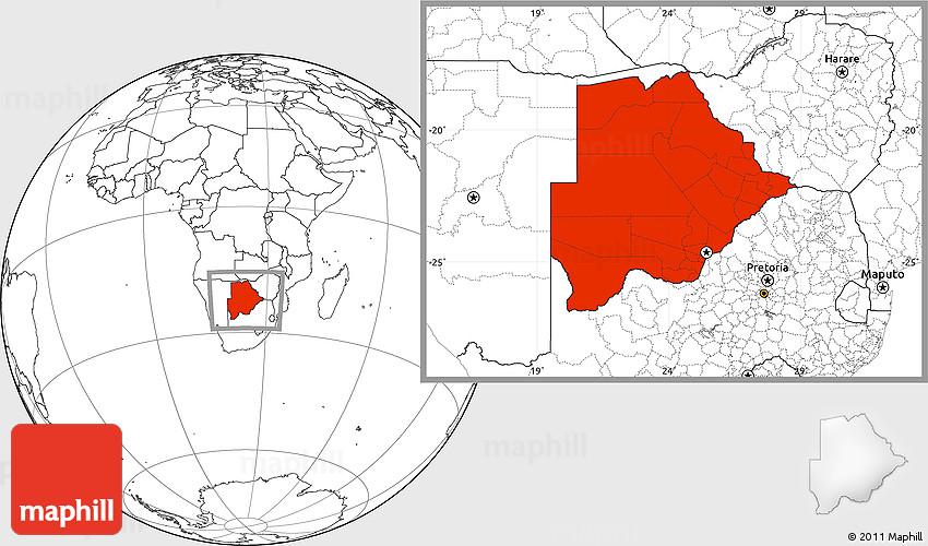 Blank Location Map of Botswana