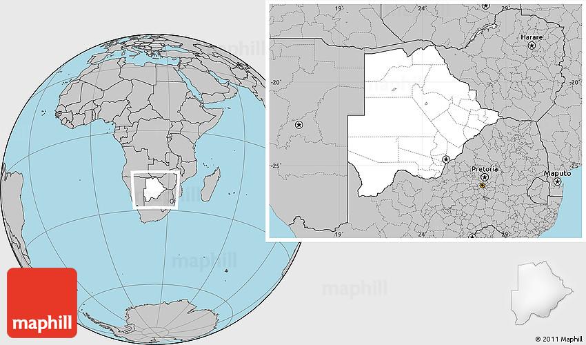 Blank Location Map of Botswana gray outside