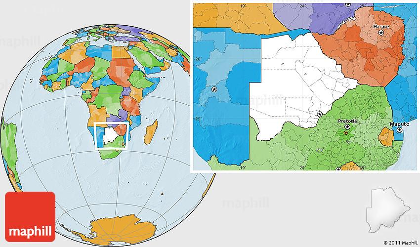 Botswana Political Map.Blank Location Map Of Botswana Political Outside