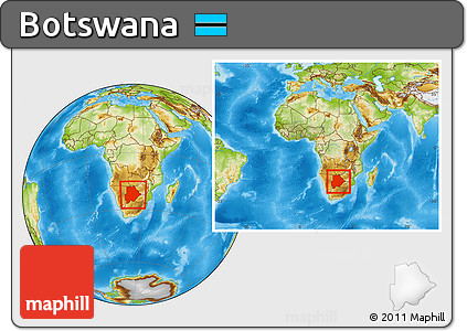 Physical Location Map of Botswana, within the entire continent