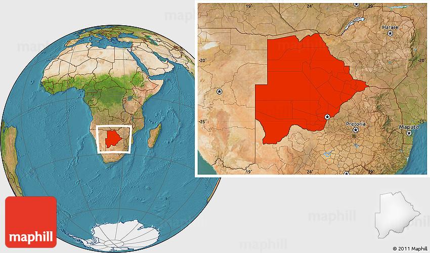 Satellite Location Map of Botswana