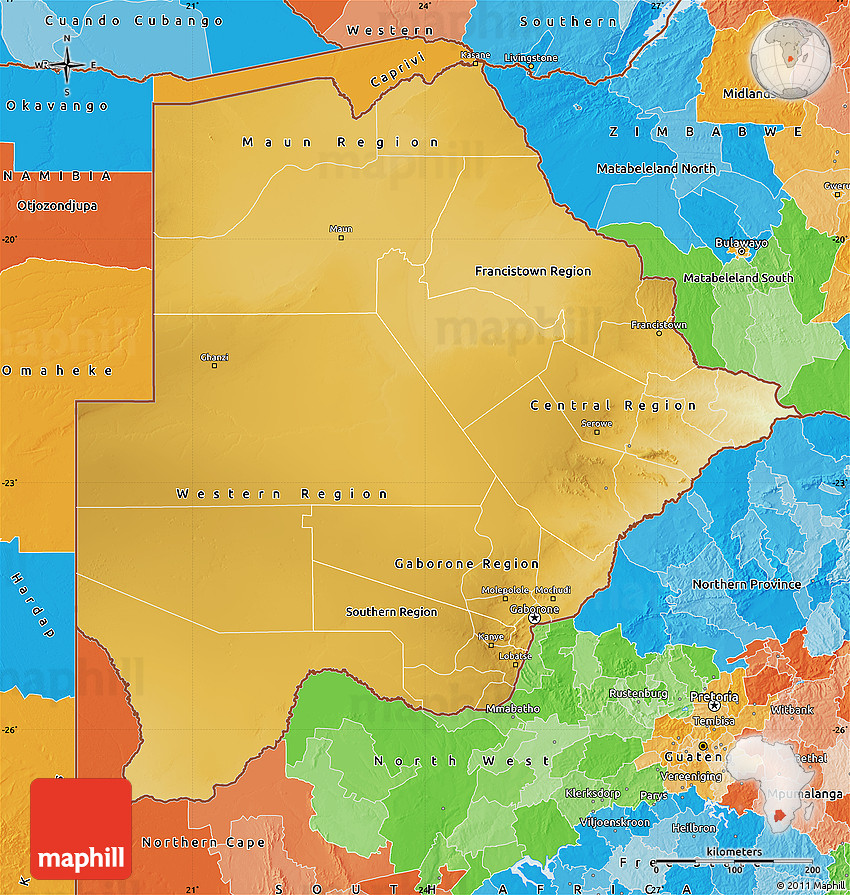 Physical Map of Botswana political outside