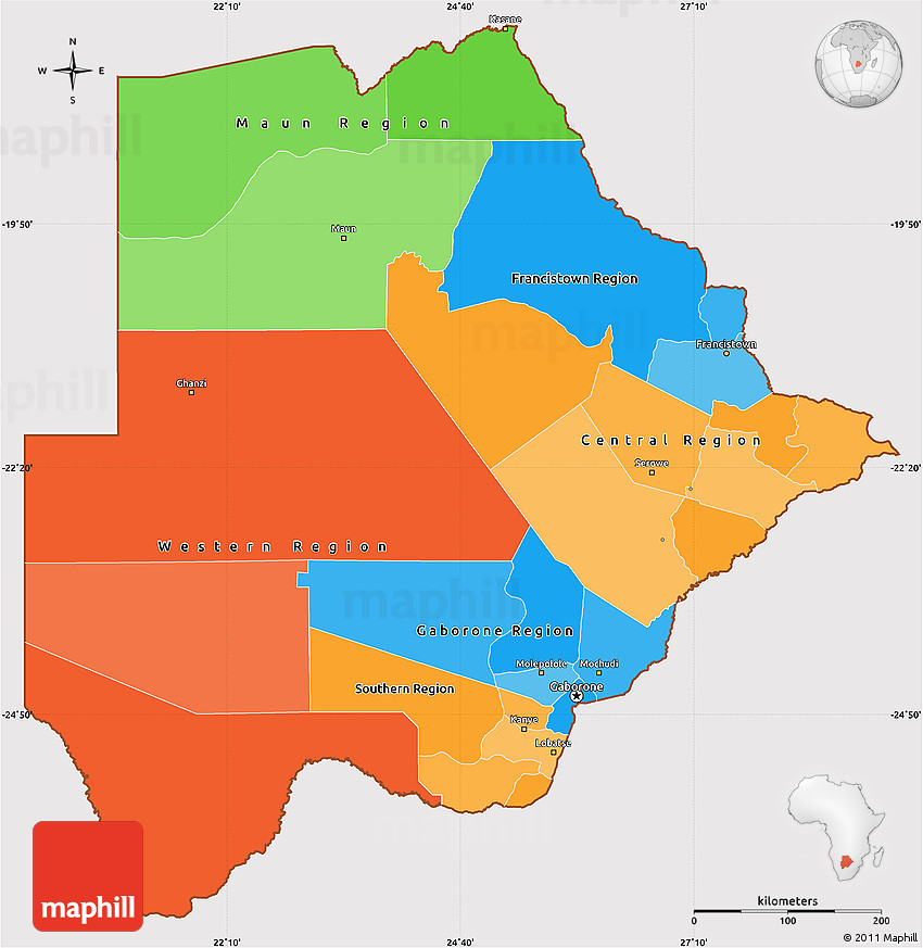 Botswana Political Map.Political Simple Map Of Botswana Cropped Outside