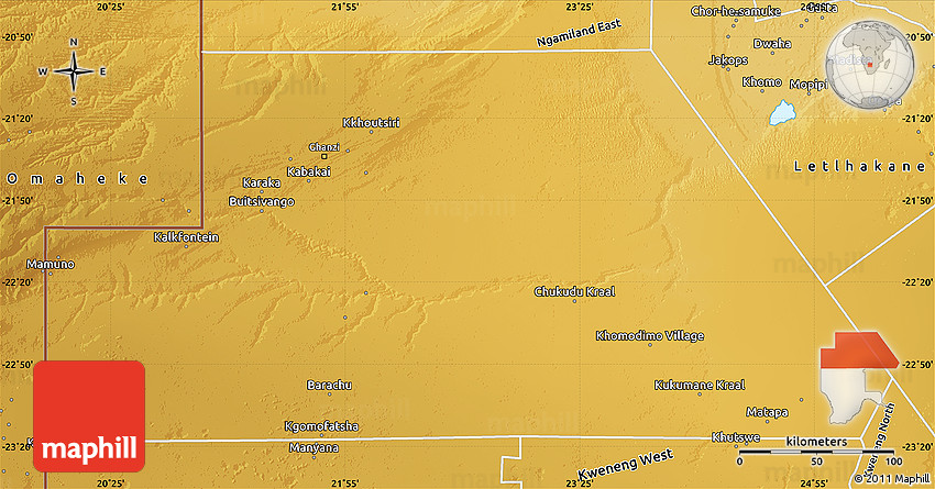 Physical Map of Ghanzi