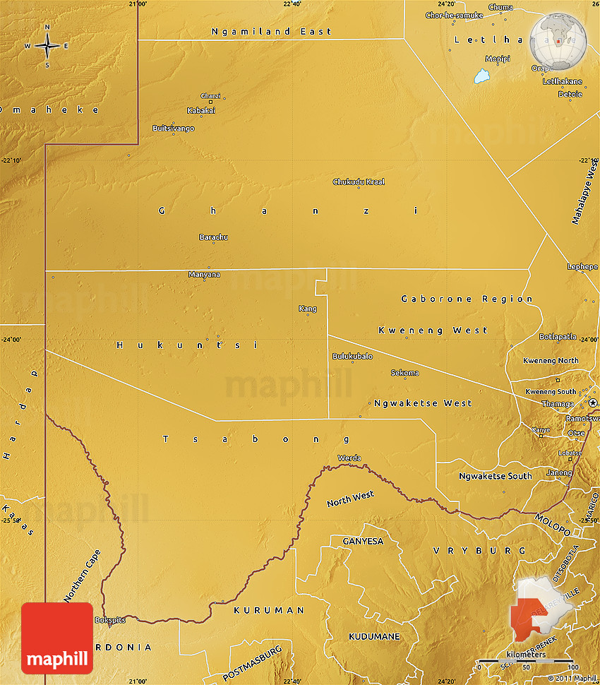 Physical Map of Western Region