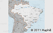 Gray 3D Map of Brazil