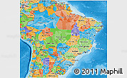 Political 3D Map of Brazil