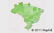 Political Shades 3D Map of Brazil, cropped outside