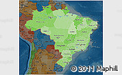 Political Shades 3D Map of Brazil, darken